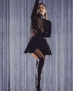 Ariana Grande Wearing New Black Outfit.:).