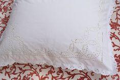 Antique French Richelieu  Embroidery Linen Pillowcase Monogram Bedding Pillow Sham White Lace Hand Made Dorset Button Home Decor Romantic Rustic Upholstery Fabric, Pillow Shams, Bed Pillows, Monogram Bedding, Bouquet Home Decor, Dorset Buttons, Rustic French, Vintage Linen, Pillowcases