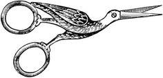 Рисунок швейной редкости – кованых ножниц в форме цапли. Острые концы быстро и точно режут ткань любой толщины.