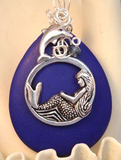 Dreaming MERMAID Dolphin PENDANT, Blue LAPIS GEMSTONE, Wire Wrap, Nautical,Ocean  $16.99 via texaswoman