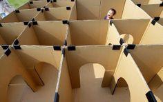 Make a maze using card board boxes!