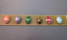 """VTG Sarah Coventry Bracelet Wide Mesh Marbled Cabochon Stones Gold Plated 7.5"""" #SarahCoventry #Statement"""