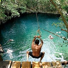 http://www.TravelPod.com - Russel at the cenote by TravelPod member Jmwebbrn, from Valladolid, Mexico ... Cenote Zaci