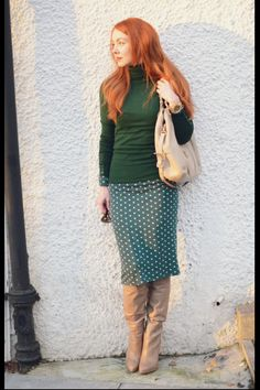 Redhead boots sweater skirt outfit