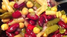 Five cans of beans are mixed with bell pepper, onion, and celery and tossed in a simple dressing for a delicious marinated bean salad. Five Bean Salad, Best Beans, Healthy Salad Recipes, Veggie Recipes, Bean Salad Recipes, Meal Recipes, Healthy Foods, Yummy Recipes, Side Salad