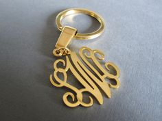 BUT NOT THIS expensive Gold Monogram Keychain 3 different pendant sizes by SpeciallyForU Monogram Keychain, Monogram Gifts, Car Accessories, Fashion Accessories, Girly Things, Initials, Great Gifts, White Gold, Keychain Ideas