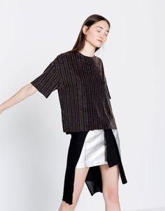 Pull&Bear - femme - vêtements - jupes - minijupe métallisée - argent - 09399340-I2016