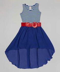 Another great find on Royal Stripe Hi-Low Belted Dress - Girls by Maya Fashion Maya Fashion, Tween Fashion, Girl Fashion, Dresses For Teens, Cute Dresses, Girls Dresses, Cute Outfits For Kids, Summer Outfits, Summer Dresses