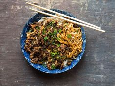 For this beloved dish of China's Sichuan province, a tangle of wheat noodles is topped with a spicy, pungent pork sauce.