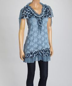 Another great find on #zulily! Blue Animal Linen-Blend Angel-Sleeve Tunic by Pretty Angel #zulilyfinds