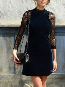 Navy Round Neck With Lace Dress