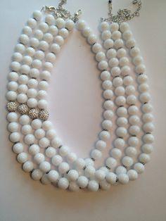 White Beaded Necklace by SharonKrug on Etsy, $31.50