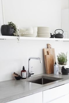 concrete counter top, single shelf, cast iron, chopping boards, plant, chrome faucet