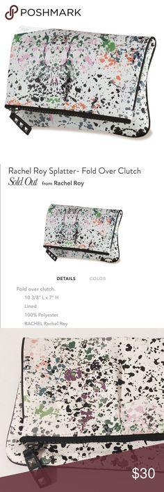 ✨ Rachael Roy Splatter Clutch White vinyl print, fully lined clutch with black exposed zipper. RACHEL Rachel Roy Bags Clutches & Wristlets