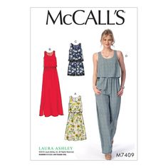 McCall's Pattern M7409 Laura Ashley Misses' Overlay-Bodice Dresses, Romper and Jumpsuit (6-8-10-12-14) pattern for sleeveless dresses, romper and jumpsuit that are fitted through the bodice, with front and back overlays, scoop neckline, gathers, back invisible zipper, topstitching and narrow hems.