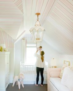 Photo by Leslee Mitchell. Hand-painted pink and white stripe girl nursery. Photo by Leslee Mitchell. Room design by Tori Alexander. Home Decoration; Home Design Nursery Room, Girl Nursery, Girls Bedroom, Bedrooms, Nursery Decor, Nursery Daybed, Bedroom Decor, Room Baby, White Nursery