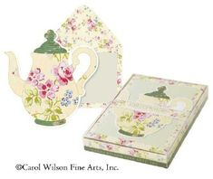 Carol Wilson Stationery Boxed Die Cut Note Cards Yellow Teapot