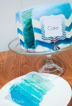 blue-chevron-ombre-birthday-cake-labeled by Ashlee @ imtopsyturvy, via Flickr