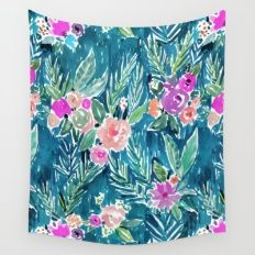 PARADISE FLORAL - NAVY Wall Tapestry