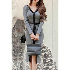 $18.16 Stylish V-Neck Long Sleeve Color Block Sweater Dress For Women