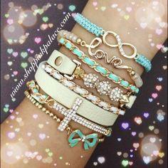 Set of 5 separate bracelets. Adjustable/ Elastic stretch.