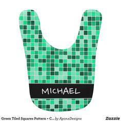 Green Tiled Squares Pattern + Custom Name Baby Bib