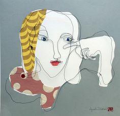 Mixed media. Wire portrait in one piece with paper collage. Size 50x50 cm. Title Fleur. Artist Agneta Pihlström