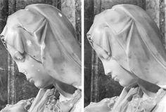 Atentado contra la Piedad de Miguel Ángel Buanorroti. El 21 de mayo de 1972. Posterior restauración.