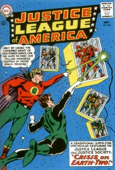 Golden and Silver Age Green Lanterns to the rescue; caged Justice League and Justice Society members have their annual get-together interrupted!