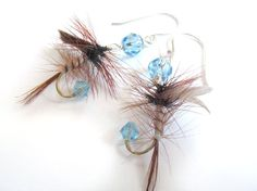 Blue and Brown Fishing Lure Earrings by Raynecloud on Etsy, $20.00.. Earrings with fishing flies?? PERFECT!