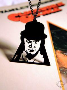 Clockwork Orange Alex DeLarge inspired necklace in black stainless steel - film portrait pendant