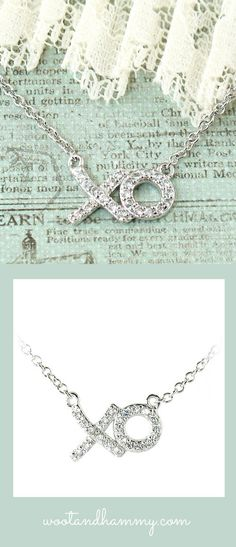 Hugs and Kisses XOXO necklace in sterling silver and cubic zirconia.