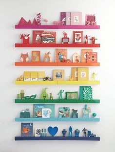 Honest to Nod's tutorial uses shelves from the Land of Nod, but you could also use acrylic paint on shelves you already have.