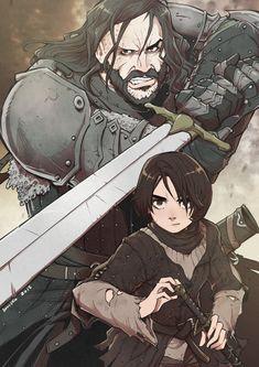 Great Anime Illustration of Sandor and Arya by Danusko #asoiaf #gameofthrones #GOTSeason6