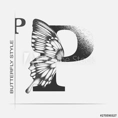 Letter P with butterfly silhouette. Monarch wing butterfly logo template isolated on white background. Calligraphic hand drawn lettering design. Alphabet concept. Monogram vector illustration - Buy this stock vector and explore similar vectors at Adobe Stock | Adobe Stock