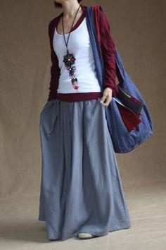 Gray skirt  fashon skirts Long Skirts Linen Skirt women dress. $58.00, via Etsy.
