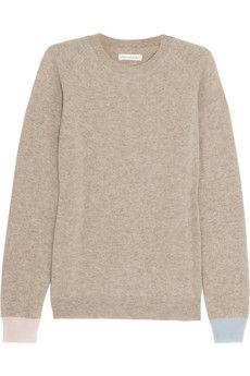 Chinti and Parker Contrast-cuff cashmere sweater | NET-A-PORTER