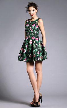 Green Sleeveless Floral Print Dress w' Pleats - ff-DRESS -EZI-38031-GREEN - SALE - on buyinvite.com.au<3