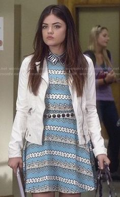 Aria's turquoise blue zig zag print dress on Pretty Little Liars.  Outfit Details: http://wornontv.net/26384/ #PLL