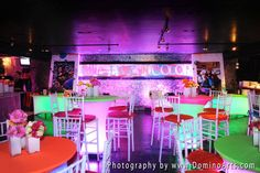 """A very beautiful """"Live in Color"""" themed Bat #Mitzvah #Party at Revolution Live, Ft Lauderdale, #FL! #Mitzvah #Decoration #Photography by #DominoArts (www.DominoArts.com)"""
