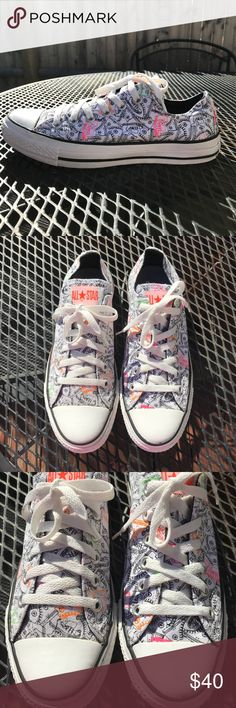Converse All Star sneakers Gently worn hard to find special edition Converse All Star sneakers. The pattern is a sneaker print with neon colors. Converse Shoes Sneakers