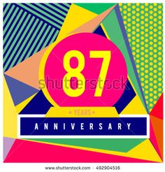 87th years greeting card anniversary with colorful number and frame. logo and icon with Memphis style cover and design template. Pop art style design poster and publication.