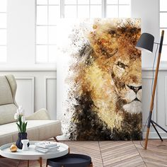 Lion Painting, Oil Painting Abstract, Watercolor Art, Lion Art, Diy Canvas Art, Acrylic Art, Animal Paintings, Art Techniques, Painting Inspiration