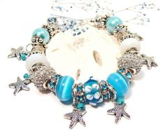 Aqua Euro Style Starfish Charm Bracelet with by GirlieGals on Etsy,