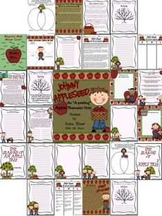 Johnny Appleseed & Apple Unit: 65 pages of ideas, information, activities, projects & printables that correlate with Apples and Johnny Appleseed..... ~Class Discussion Ideas ~Apple KWL Chart lesson ~Apple Day & National Apple Month ~Apple Themed Book & Apple Sayings Lists ~Apple Tasting Party Ideas ~Apple Writing Ideas, Prompts, Story Starters & Activities ~Science lessons on seasons ~Adjective lesson, anchor chart & cooperative group activity ~Johnny Information & Character Map
