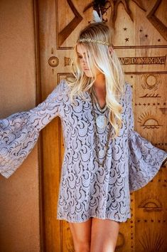Summer boho chic lace mini dress of beach cover up, modern hippie headband. For the BEST Bohemian fashion trends for 2014 FOLLOW http://www.pinterest.com/happygolicky/the-best-boho-chic-fashion-bohemian-jewelry-gypsy-/