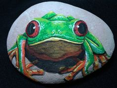 Painted Rock / Frog Garden Stone / Hand Painted yard art / Home decor / paper weight / gift ideas / Holiday stocking stuffers on Etsy