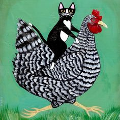 Chicken Ride Whimsical Cat Folk Art Print 5x5, 8x8, 10x10, 12x12