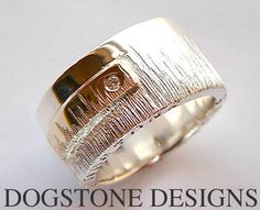 Men's Chunky Silver  Gold Dogstone Ring  Contact - 0161 491 0624