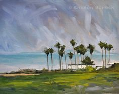 Oil Painting Seascape - Original Landscape Painting by Sharon Schock 8x10 on canvas